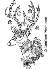 Reindeer by hand drawing. - Merry Christmas from...