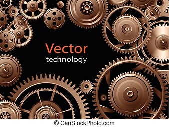 Gears background, teamwork and precision concept vector...