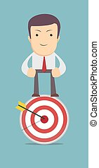 man stands on top of the target as symbol for choice, career...