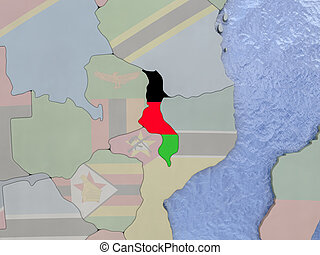 Malawi with flag on globe - Map of Malawi with national flag...
