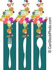 Cutlery contemporary pattern illustration - Cutlery icons...