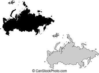 Russia map. Black and white. Mercator projection.
