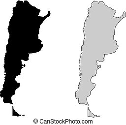 Argentina map. Black and white. Mercator projection.