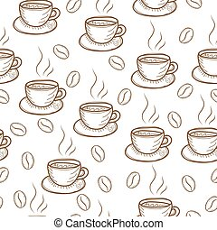 Coffee sketch hand drawing pattern vector illustration