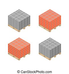 Isometric wooden pallet with cinder blocks and bricks,...