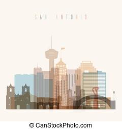 San Antonio skyline poster - Transparent styled San Antonio...