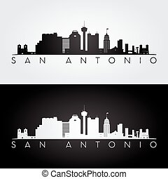 San Antonio skyline silhouette - San Antonio USA skyline and...
