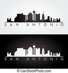 San Antonio skyline silhouette - San Antonio USA skyline and...