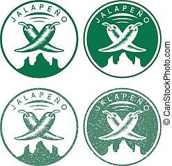 vector vintage labels set of hot jalapeno pepper