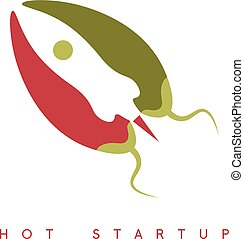 vector design template of hot rocket startup chili pepper