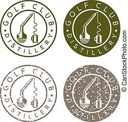 golf club distillery concept labels with broken tee