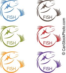 vector abstract design stickers set of the fish