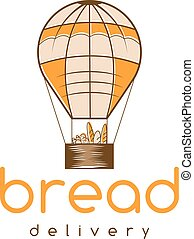 bread delivery vector concept with air balloon