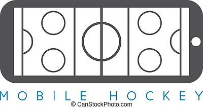 mobile ice hockey vector concept with smartphone