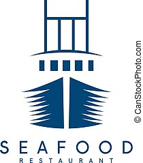 vector concept of seafood restaurant with ship