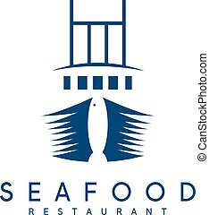 negative space concept of seafood restaurant with ship and...