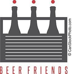 six pack beer bottles with abstract humans vector design...