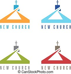 conceptual vector with modern building on a religious theme