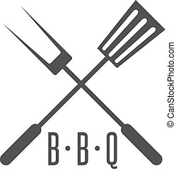 bbq tools simple icon vector design template
