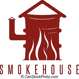 smokehouse vector concept with barrel and flame