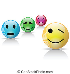 Smiley - Illustration of Smileys icons on a white...