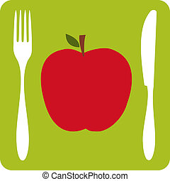 Vegetarian restaurant icon - Menu restaurant icon One red...