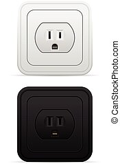 Power outlet set on a white background.