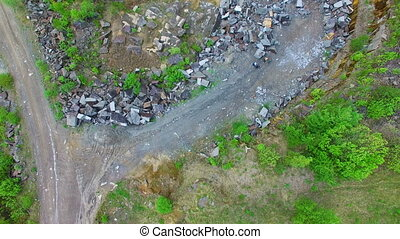 Opencast mining granite. Aerial survey - Quarry for open...