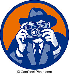 Photographer with fedora hat aiming retro slr camera done in retro style