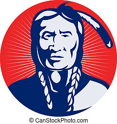 native american indian chief facing front view. -...