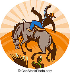 cowboy falling off horse in the desert done in retro woodcut...
