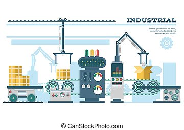 Industrial conveyor belt line vector illustration. Conveyor...