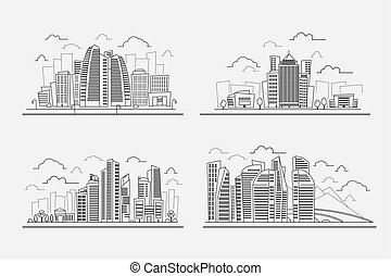 Line drawing skyscrapers, vector contour cityscape elements