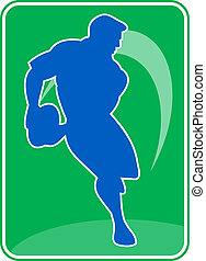 rugby player running passing ball - illustration of a rugby...
