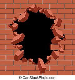 Exploding out hole in red brick wall vector illustration