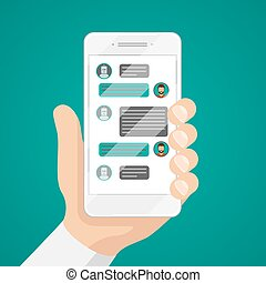 Man chatting with chat bot on smartphone vector...