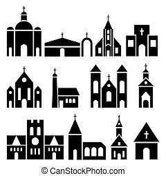 Church building icons. Vector basilica and chapel...