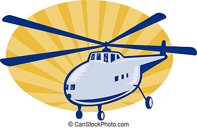 Retro style helicopter or chopper