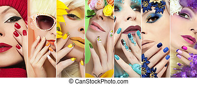 Rainbow colored makeup and manicure on nails with different...