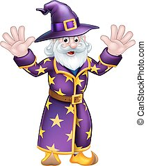Cartoon Wizard - A cartoon Halloween wizard character waving...