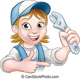 Cartoon Mechanic Plumber Woman Holding Spanner