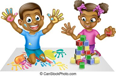 Cartoon Boy and Girl with Paint and Blocks