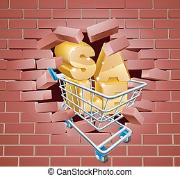 Sale Trolley Breaking Wall - Sale sign concept of a shopping...