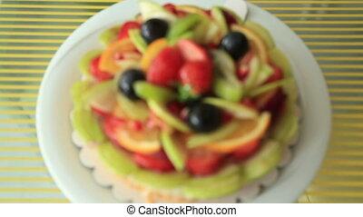 Tart pie jellied fresh fruits - Fresh dessert fruit tart...
