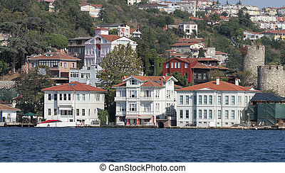 Buildings in Istanbul City, Turkey - Buildings in Bosphorus...