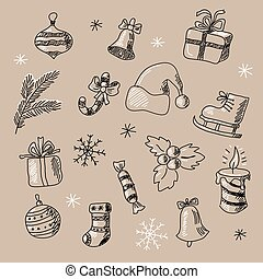 New Year seamless pattern with winter elements