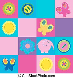 Cute seamless pattern with design elements for kids