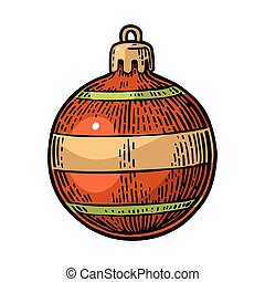 Toy bal for fir tree. For Christmas , New Year poster. - Toy...