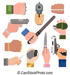 Hand firing with gun vector. - Hand firing with gun...