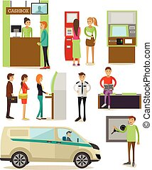 Vector set of banking concept design elements in flat style...